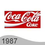 Еволюция на логото - дизайн на логото на Coca Cola от 1987 година