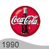 Еволюция на логото - дизайн на логото на Coca Cola от 1990 година