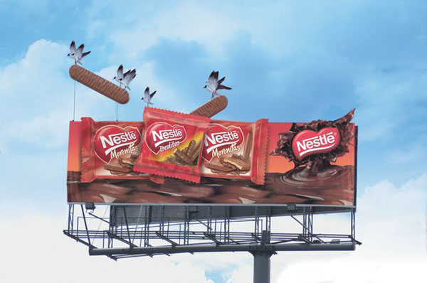 Дизайн на креативна билборд реклама - новите пръчици Nestle