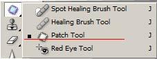 Изберете инструмента Patch Tool във Photoshop