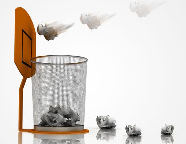 Забавен офис: Баскетболен кош за офис отпадъци