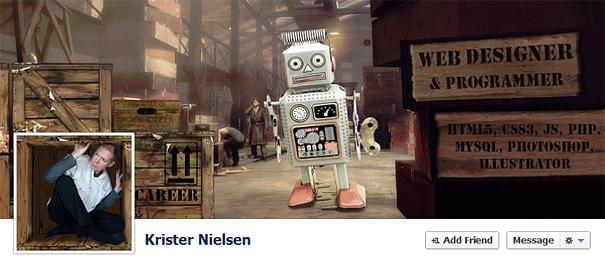 Дизайн на креативно кавър изображение за Facebook профил - Krister Nielsen