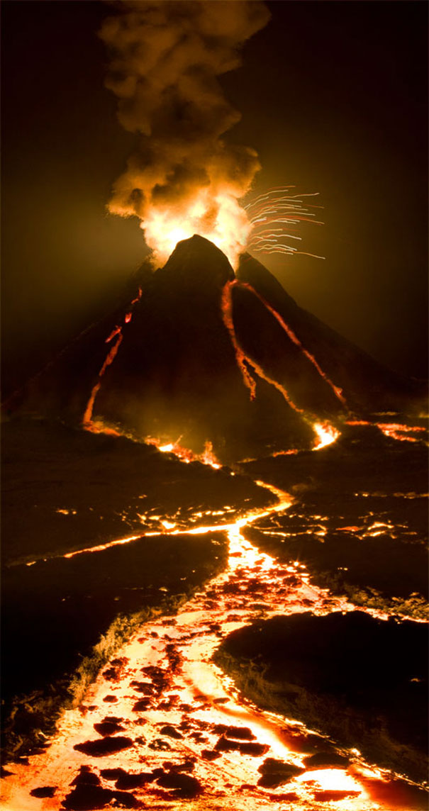 Диорама на изригващ вулкан