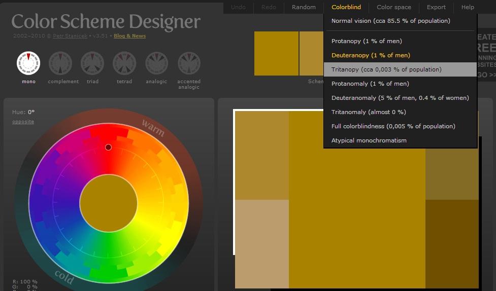 Добро приложение за избор на цветови комбинации – Color Scheme Designer