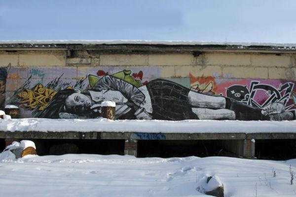 Графити на руския Банкси, улично изкуство