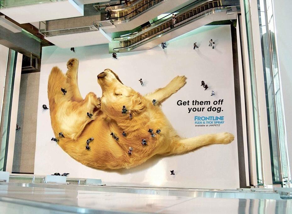 Креативна реклама върху билборд на Frontline