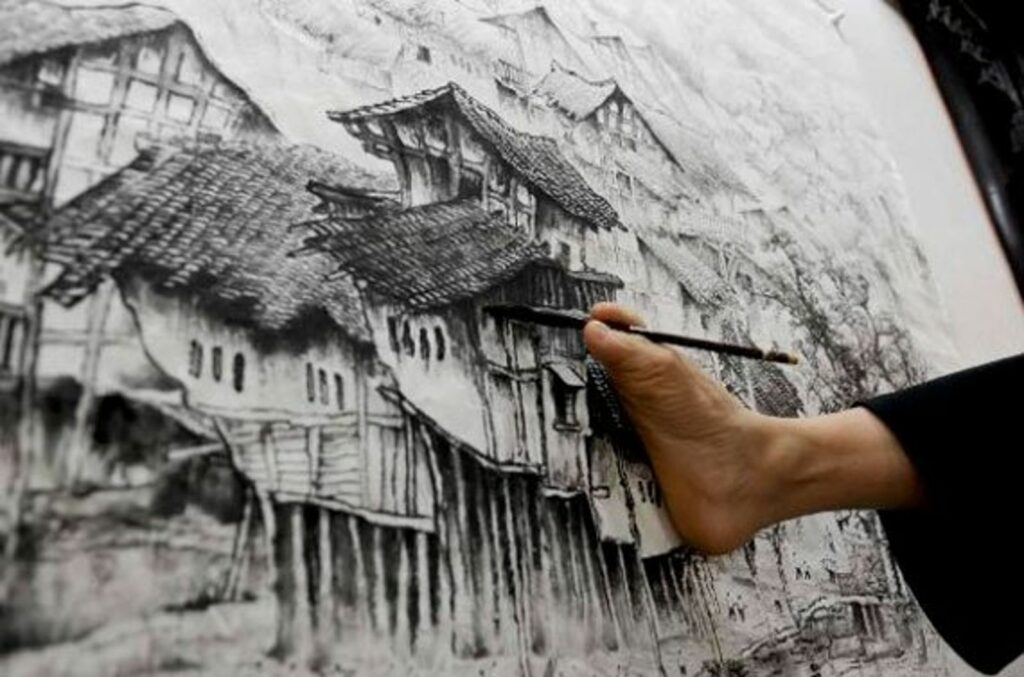 Силният дух на безръкия художник Хуан Гу Фу