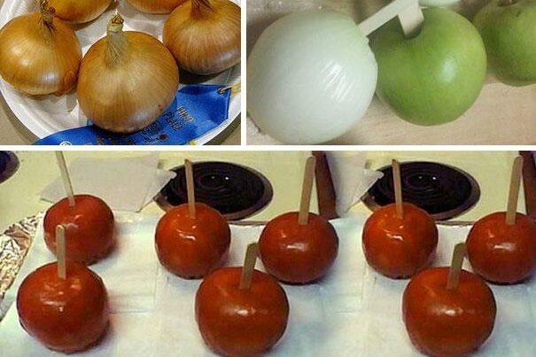Първоаприлски шеги - лук, вместо ябълка